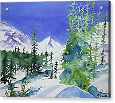 Acrylic Print featuring the painting Watercolor - Sunny Winter Day In The Mountains by Cascade Colors