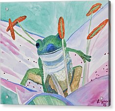 Acrylic Print featuring the painting Watercolor - Tree Frog by Cascade Colors