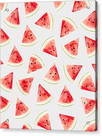 Watercolor Watermelon Pattern Acrylic Print