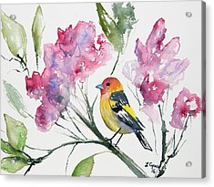 Acrylic Print featuring the painting Watercolor - Western Tanager In A Flowering Tree by Cascade Colors