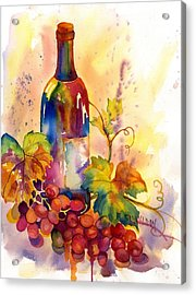 Watercolor Wine Acrylic Print by Peggy Wilson