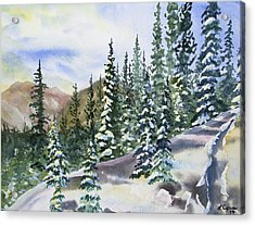 Watercolor - Winter Snow-covered Landscape Acrylic Print