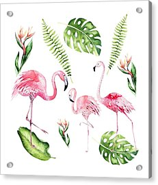 Acrylic Print featuring the painting Watercolour Flamingo Family by Georgeta Blanaru