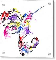 Watercolour Hummingbird Acrylic Print