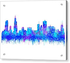Acrylic Print featuring the painting Watercolour Splashes And Dripping Effect Chicago Skyline by Georgeta Blanaru