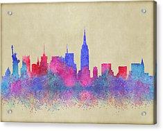 Acrylic Print featuring the digital art Watercolour Splashes New York City Skylines by Georgeta Blanaru