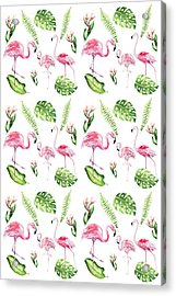 Acrylic Print featuring the painting Watercolour Tropical Beauty Flamingo Family by Georgeta Blanaru