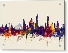 watercolour, watercolor, urban,  Bangkok, Bangkok skyline, bangkok cityscape, city skyline, thailand Acrylic Print by Michael Tompsett