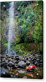 Waterfall And Flowers Acrylic Print