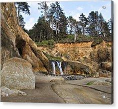 Waterfall At Hug Point State Park Oregon Acrylic Print