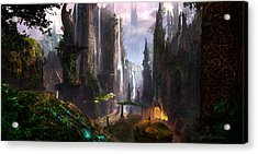 Waterfall Celtic Ruins Acrylic Print by Alex Ruiz
