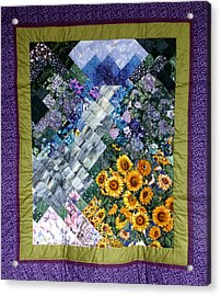 Waterfall Garden Quilt Acrylic Print by Sarah Hornsby