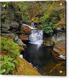 Waterfall In Autumn Acrylic Print by Stephen  Vecchiotti