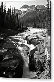 Waterfall In Banff National Park Bw Acrylic Print by RicardMN Photography