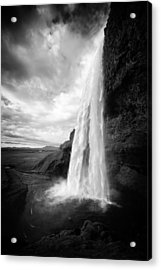 Acrylic Print featuring the photograph Waterfall In Iceland Black And White by Matthias Hauser