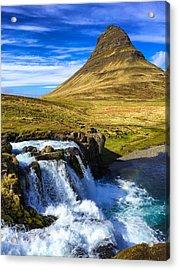 Waterfall In Iceland Kirkjufellfoss Acrylic Print