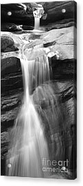 Waterfall In Nh Black And White Acrylic Print by Michael Mooney