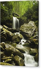 Waterfall In The Spring Acrylic Print by Andrew Soundarajan