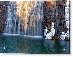 Waterfall In Winter Acrylic Print
