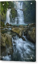 Waterfall Acrylic Print by Juan Carlos Vindas