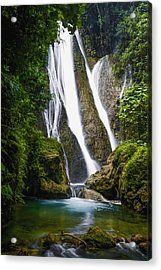 Waterfall Over Moss Covered Cliff Acrylic Print