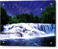 Waterfall Painting Waterfall Prints On Canvas - Agua Azul Acrylic Print by Zenisart Gallery