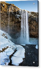 Waterfall Seljalandsfoss Iceland In Winter Acrylic Print by Matthias Hauser