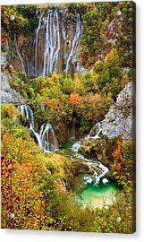 Waterfalls In Plitvice Lakes National Park Acrylic Print by Artur Bogacki