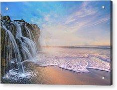 Waterfalls Into The Ocean Acrylic Print