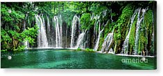 Waterfalls Panorama - Plitvice Lakes National Park Croatia Acrylic Print
