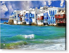 Waterfront At Mykonos Acrylic Print