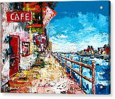 Waterfront Cafe Acrylic Print by Claude Marshall