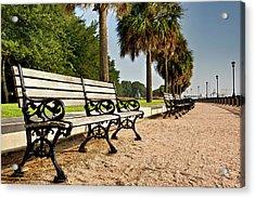 Waterfront Park Bench  Acrylic Print by Drew Castelhano