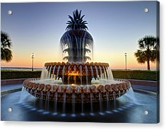 Waterfront Park Pineapple Fountain In Charleston Sc Acrylic Print by Pierre Leclerc Photography