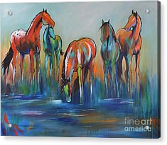 Acrylic Print featuring the painting Watering Hole 5 by Cher Devereaux