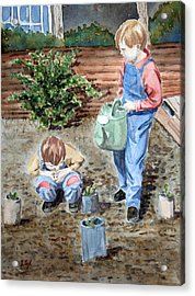 Watering The Plants Acrylic Print by John Cox