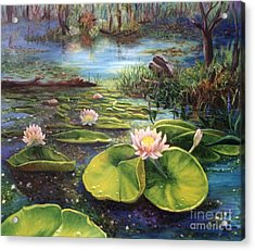 Waterlilies Acrylic Print by Renate Nadi Wesley