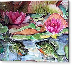 Waterlillies And Blue Giles Acrylic Print by Bette Gray