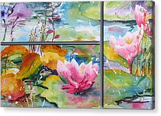 Waterlillies Triptych Acrylic Print