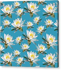 Acrylic Print featuring the mixed media Waterlily Pattern by Christina Rollo