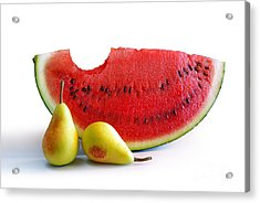 Watermelon And Pears Acrylic Print by Carlos Caetano