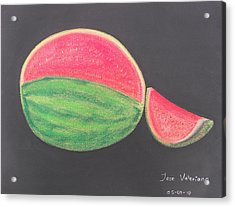 Watermelon Acrylic Print by M Valeriano