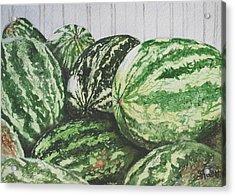 Watermelon Acrylic Print by Sue Ann Glenn