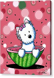 Watermelon Westie Girl Acrylic Print by Kim Niles