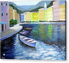 Waters Of Portofino  Acrylic Print by Larry Cirigliano