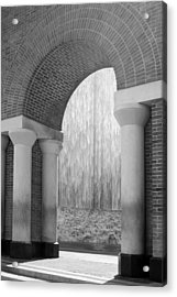 Waterwall And Arch 3 In Black And White Acrylic Print