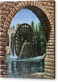 Acrylic Print featuring the painting Waterwheels  by Laila Awad Jamaleldin