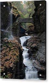 Acrylic Print featuring the photograph Watkins Glen Rainbow Falls by Joshua House