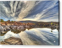 Watson Lake Reflections Acrylic Print by Donna Kennedy