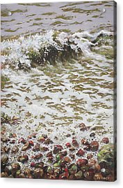 Acrylic Print featuring the painting Wave And Colorful Pebbles by Martin Davey